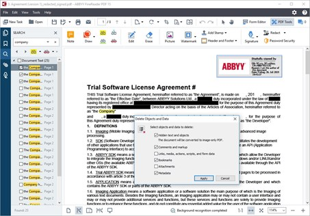 ABBYY Finereader PDF, protect and redact pdf